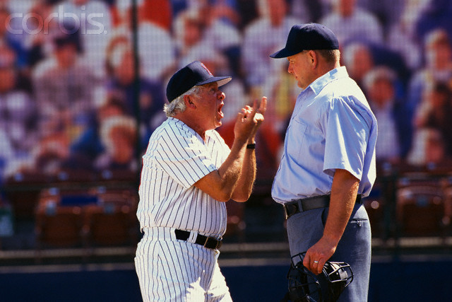 Baseball Manager Arguing with Umpire